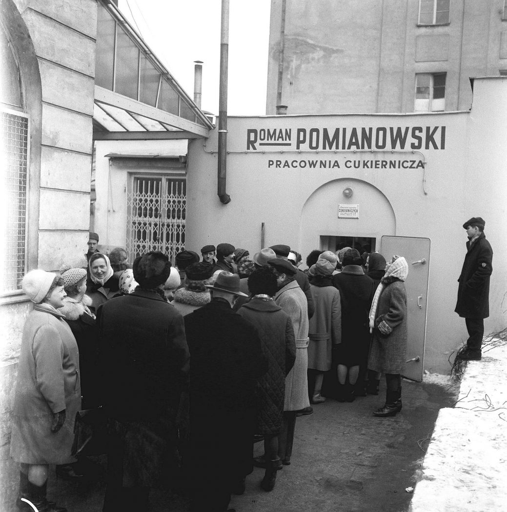 People queue up to purchase doughnuts